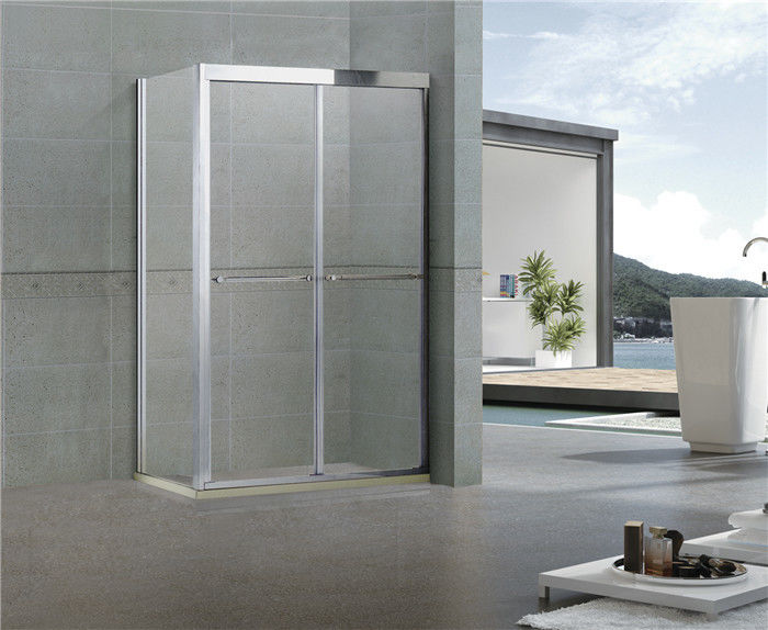 Rectangular Double Sliding Shower Screen with One Side Fixed Panel 304 Stainless Steel
