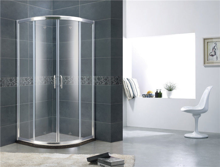 Double Moving Door Aluminum Alloy Shower Screens Chromed Sliding With Stainless Steel Handle