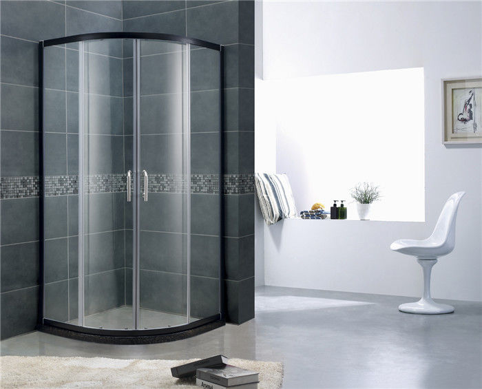 Black Aluminum Alloy D Shaped Shower Enclosure Curved Glass With SGCC Certification