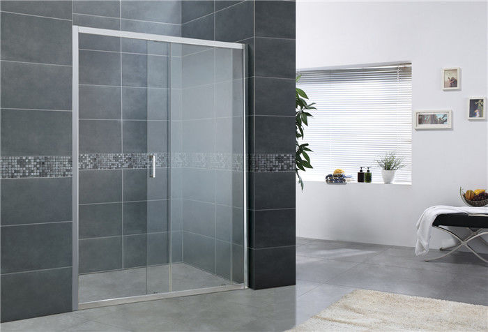Adjustable Bright Silver Sliding Shower Screens Aluminum Alloy Without Wall Profiles