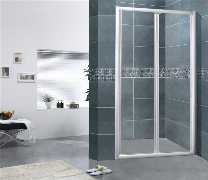 Sand Silver Folding Doors Shower Enclosures Aluminum Alloy  Bathroom 6 MM Tempered Glass