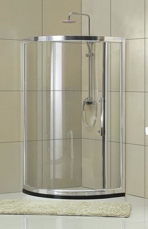 Qudrant  6 / 8 mm Clear Tempered Glass Shower Door With Chromed Finished Profiles