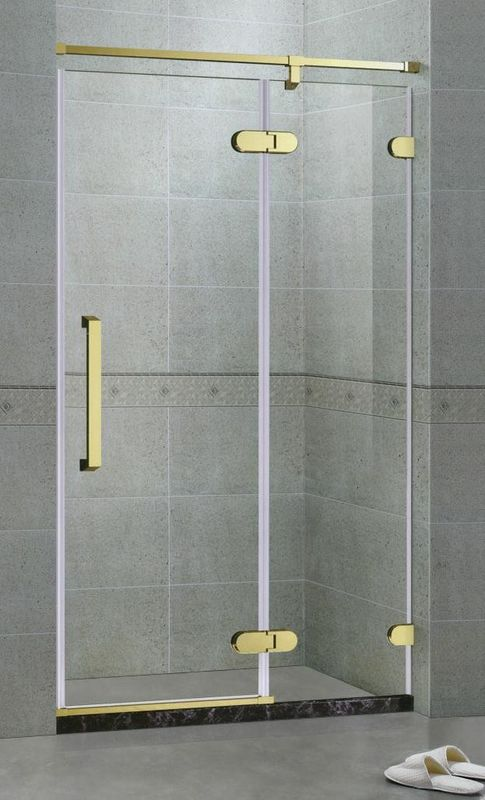 Golden Inline Frameless Shower Door Hinged Tempered Glass With 180 Degree Magnetic Seals